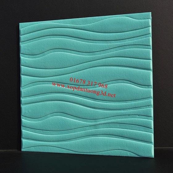 Xốp dán tường vân sóng màu nước biển