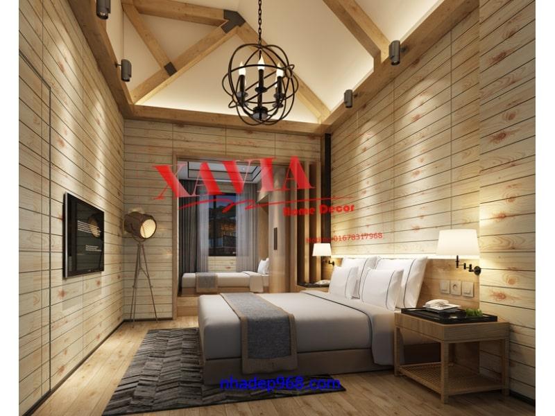 xốp dán tường vân gỗ cho phòng ngủ