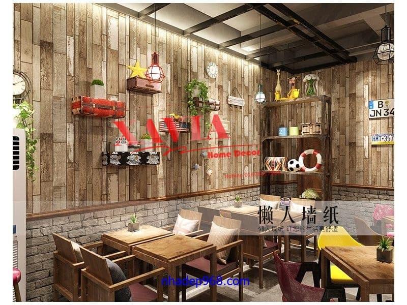 xốp dán tường vân gỗ cho quán cafe