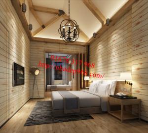 Trang trí tường phòng khách bằng sàn nhựa vân gỗ siêu đẹp vô cùng sang trọng
