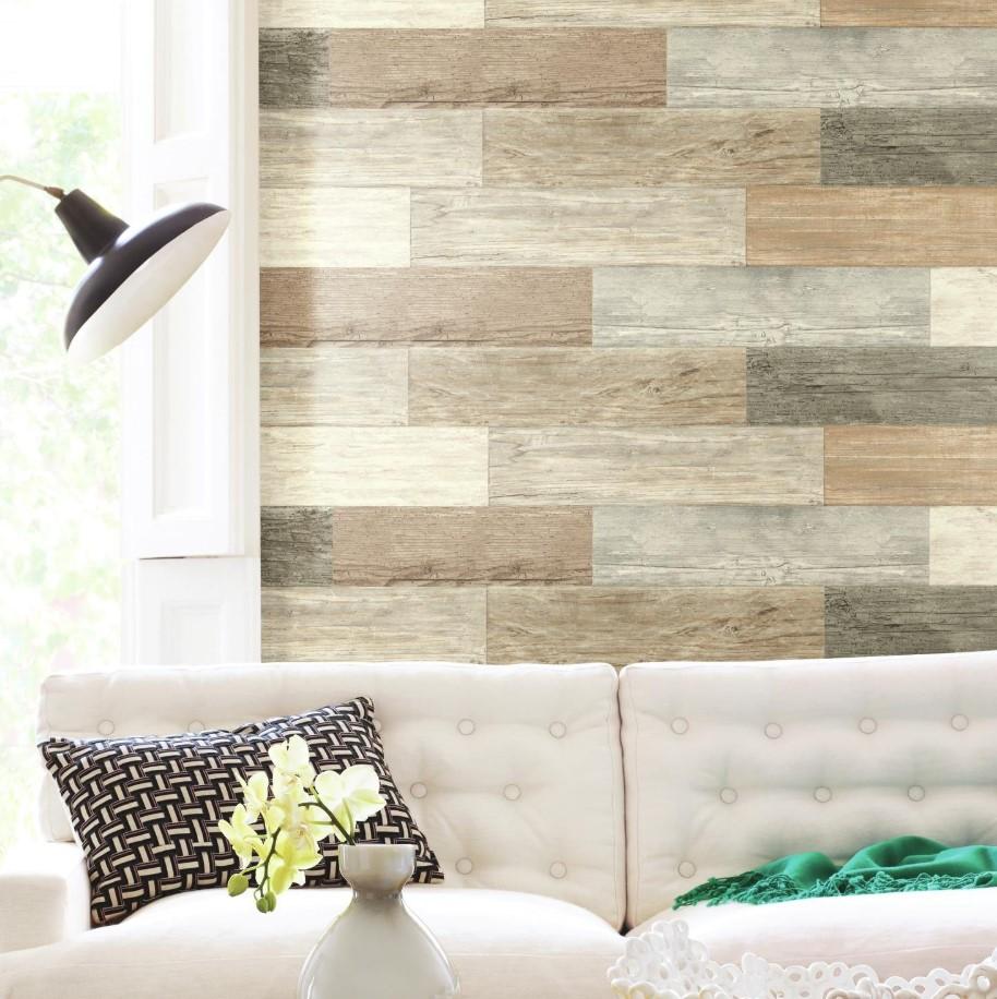 Trang nhà nhá bằng giấy dán tường 3d giả gỗ