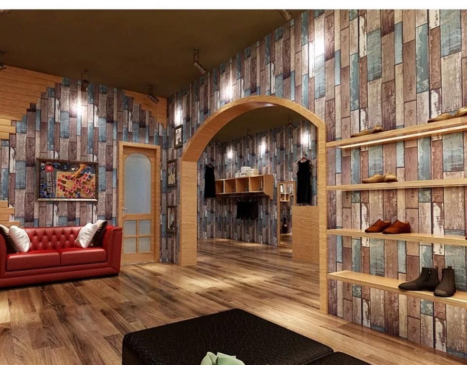 Hình ảnh xốp dán tường giả gỗ sau khi thi công