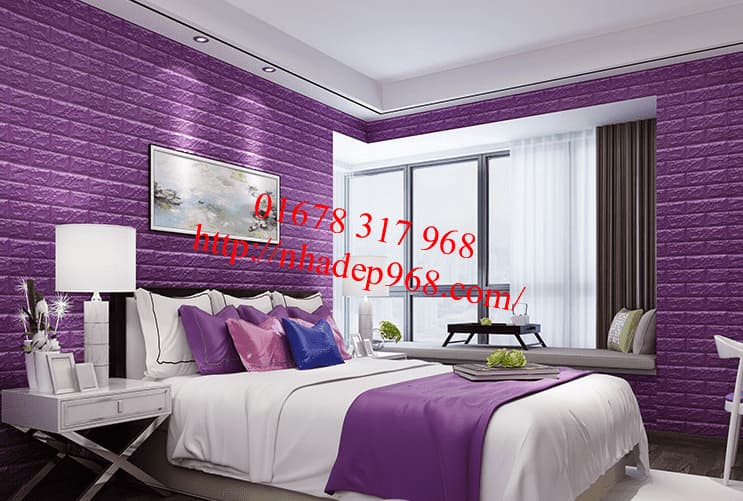 Xốp dán tường 3d màu tím đậm cao cấp