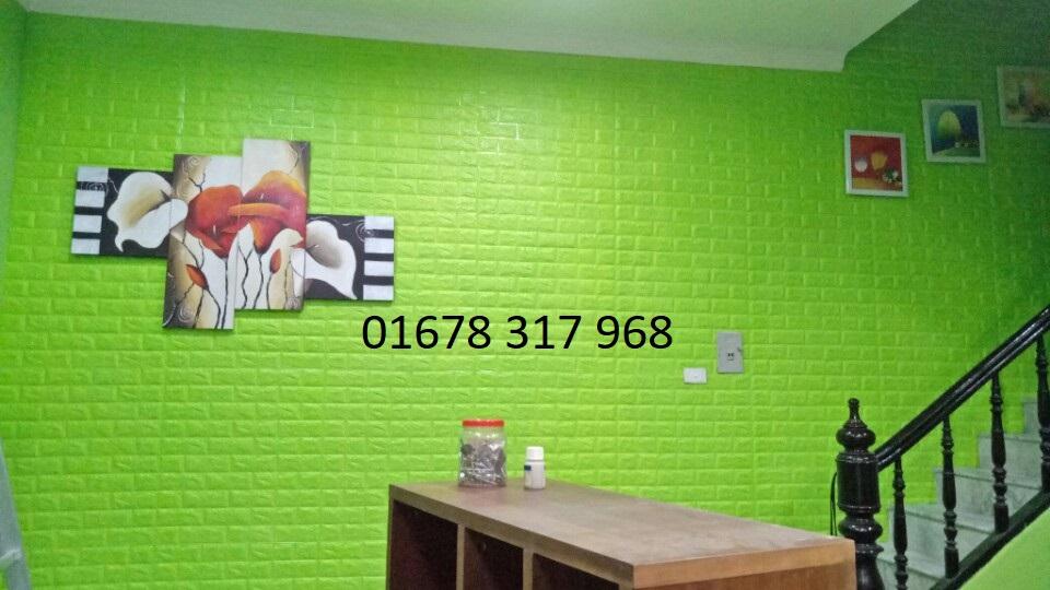 Xốp dán tường 3d màu xanh lá cây