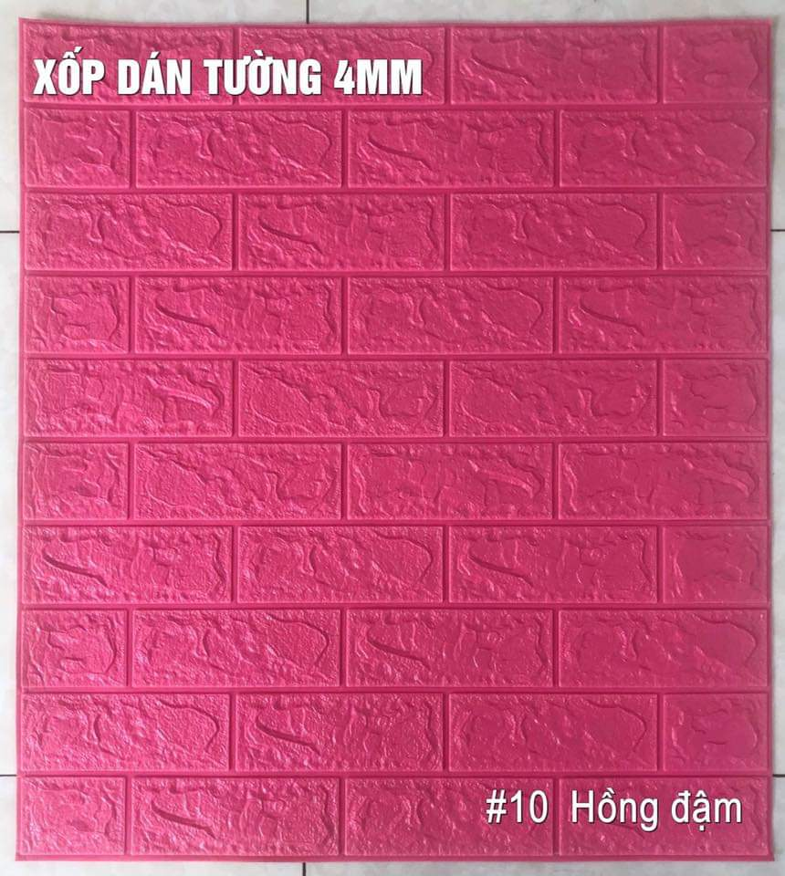 Xốp giả gạch 3d 70cmx77cm loại 4mm hồng đậm