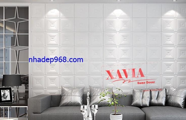 Xốp dán tường phòng khách được sử dụng khá phổ biến