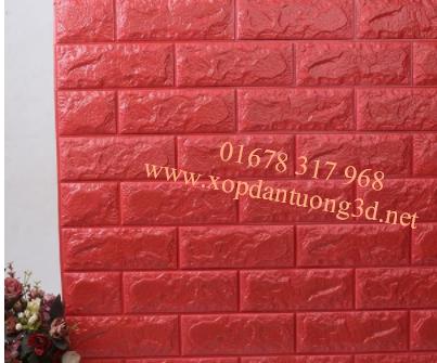 Xốp dán tường 3d giả gạch cao cấp màu đỏ
