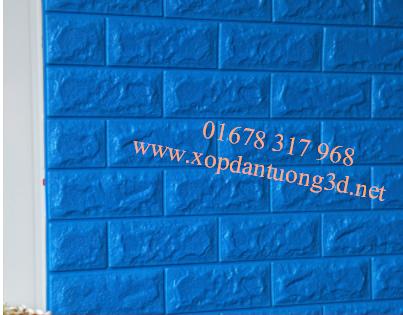 Xốp dán tường 3d giả gạch cao cấp màu xanh dương