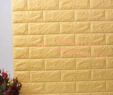 Xốp dán tường 3d giả gạch cao cấp hà nội màu vàng nhạt