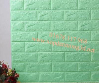 Xốp dán tường 3d giả gạch cao cấp màu xanh cốm