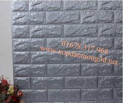 Xốp dán tường 3d giả gạch cao cấp màu xám bạc