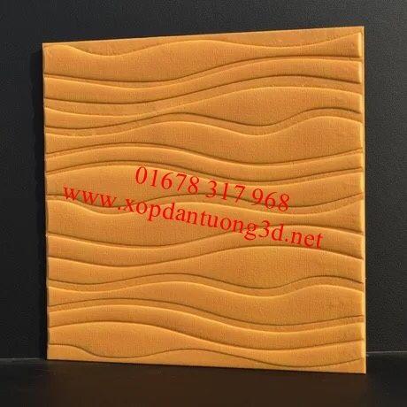 Xốp dán tường 3d vân sóng màu vàng