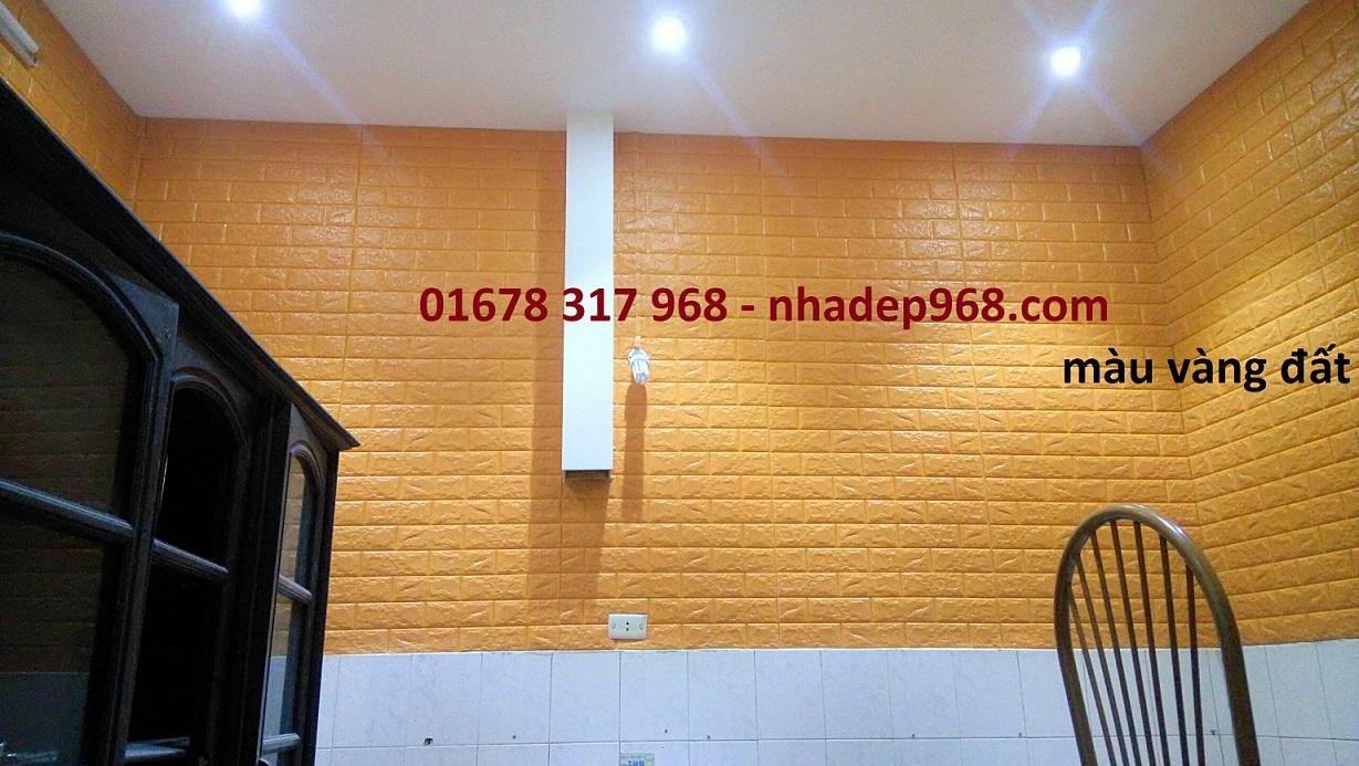Xốp dán tường 3d màu vàng đất