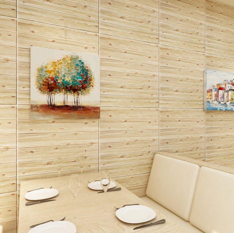 trang trí nhà hàng bằng xốp dán tường giả gỗ