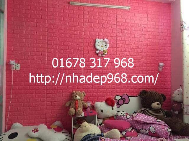 Xốp dán tường 3d màu hồng đậm