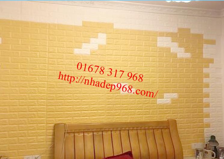 xốp dán tường 3d giả gạch màu vàng kem